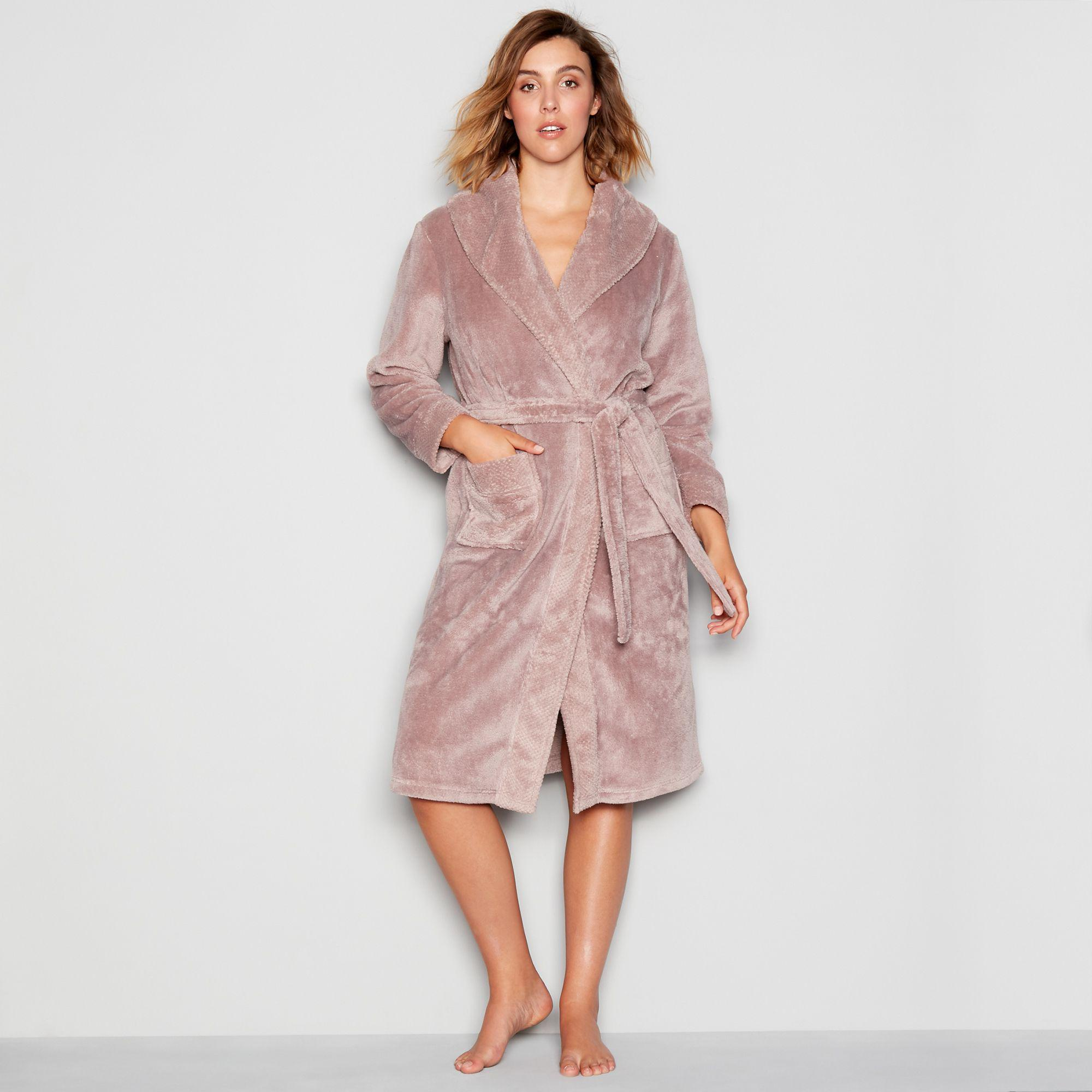 J By Jasper Conran Taupe Waffle Trim Dressing Gown In Pink Lyst