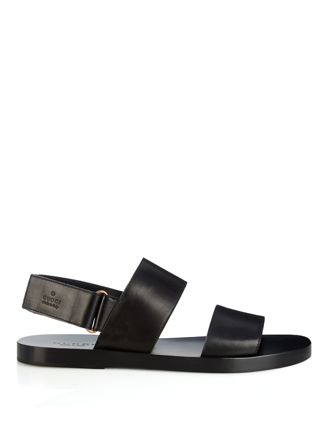 68b863c7855e Lyst - Gucci Double-Strap Leather Sandals in Black for Men