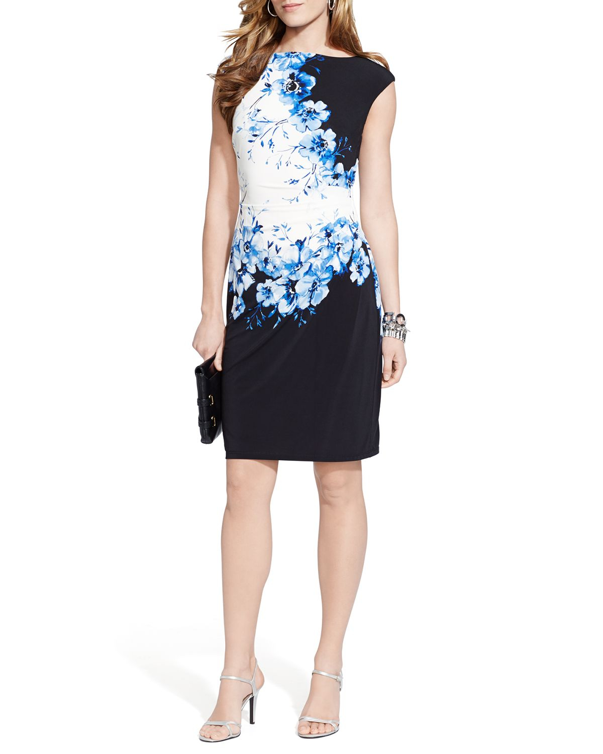 fa22aaef3a7 Ralph Lauren Lauren Dress - Cap Sleeve Floral Print Jersey in Blue ...