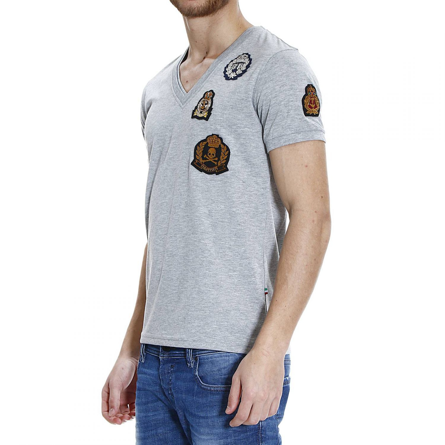 philipp plein t shirt in gray for men lyst. Black Bedroom Furniture Sets. Home Design Ideas