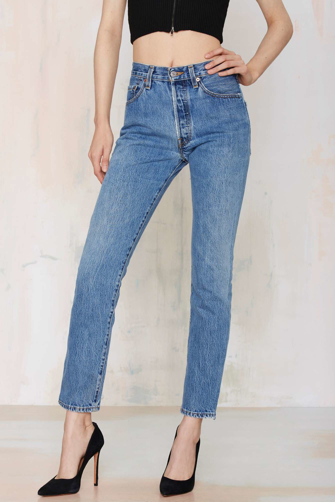nasty gal after party vintage levi 39 s 501 jeans in blue lyst. Black Bedroom Furniture Sets. Home Design Ideas