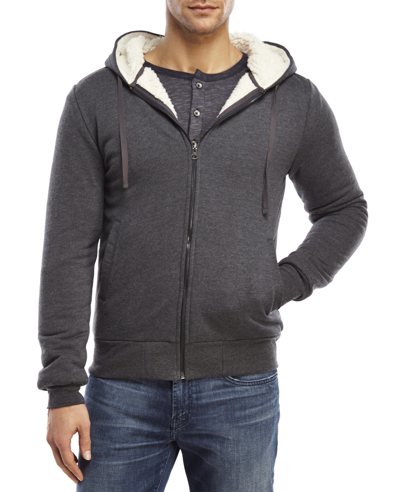 d4bc055e77 Beren Gray Sherpa Lined Zip-Up Hoodie for men