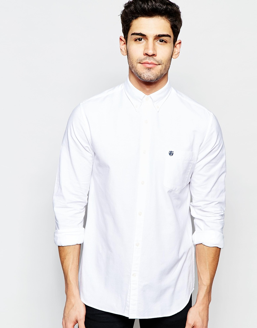 Selected oxford shirt in regular fit in white for men lyst for White oxford shirt mens