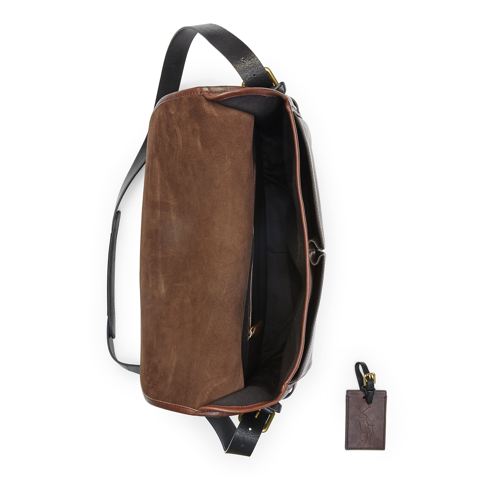 840ae1b7100e ... wholesale polo ralph lauren two tone leather messenger bag in brown for men  lyst b92e6 3e9ad