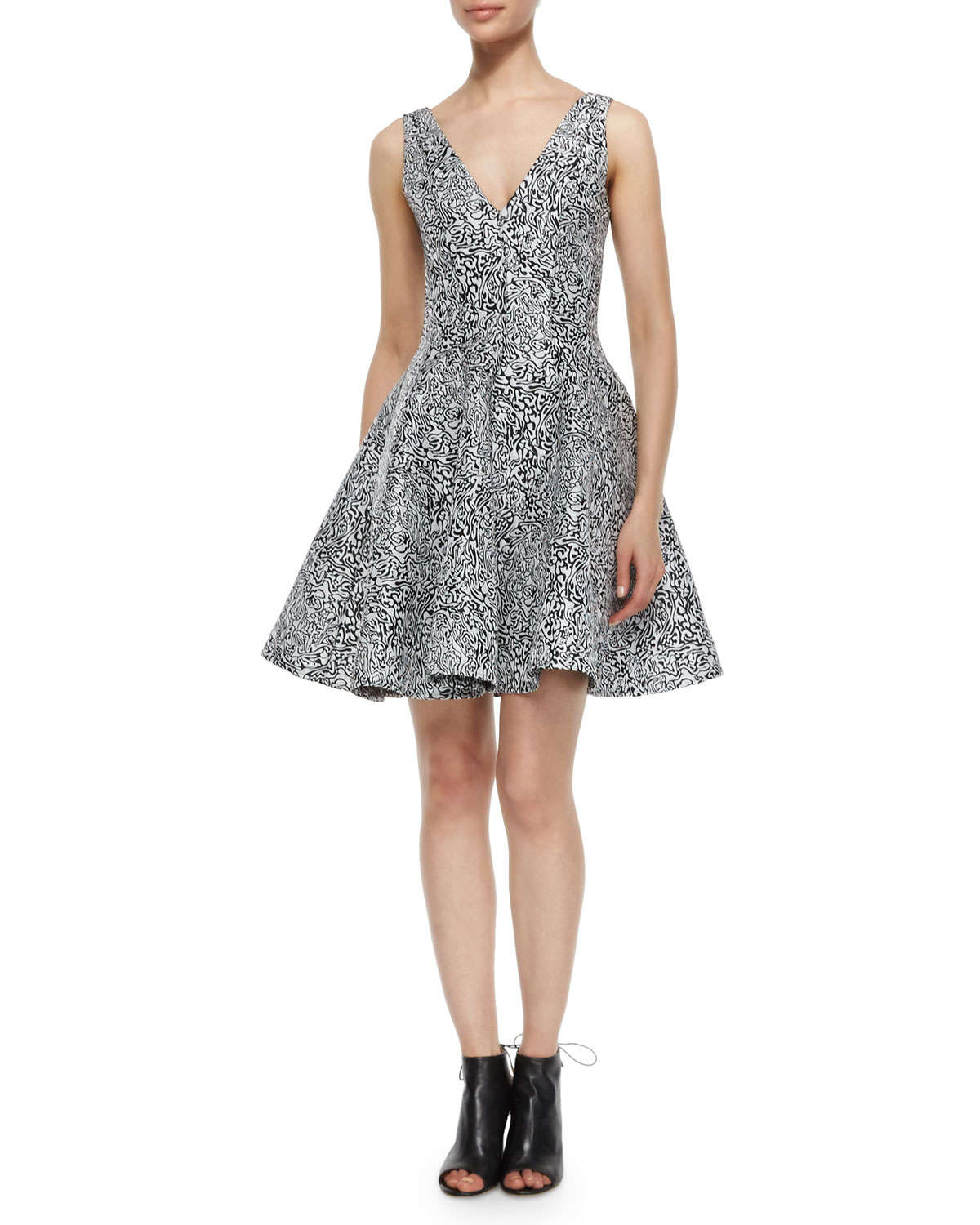 Lyst Opening Ceremony Cabbage Jacquard Flare Dress In Black