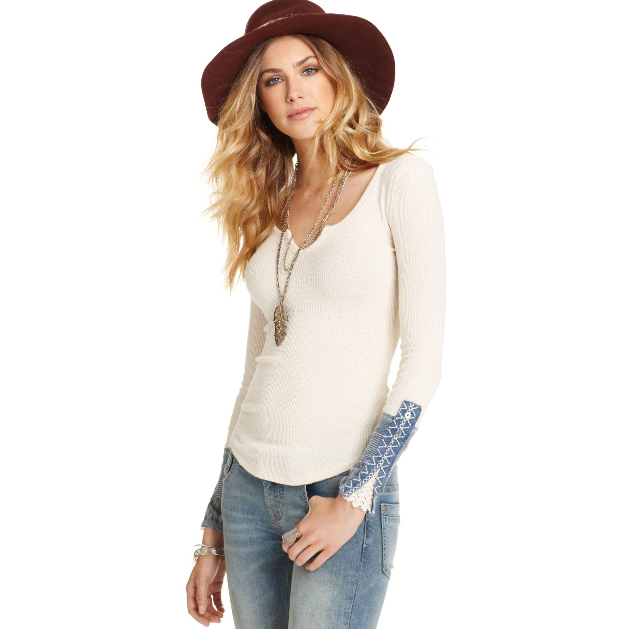 Lyst free people longsleeve splitneck patch henley in white for Best henley long sleeve shirts