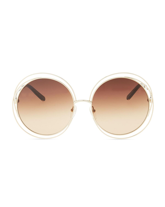 bfa47fd2743 Lyst - Chloé Carlina Round Wire-frame Sunglasses in Pink