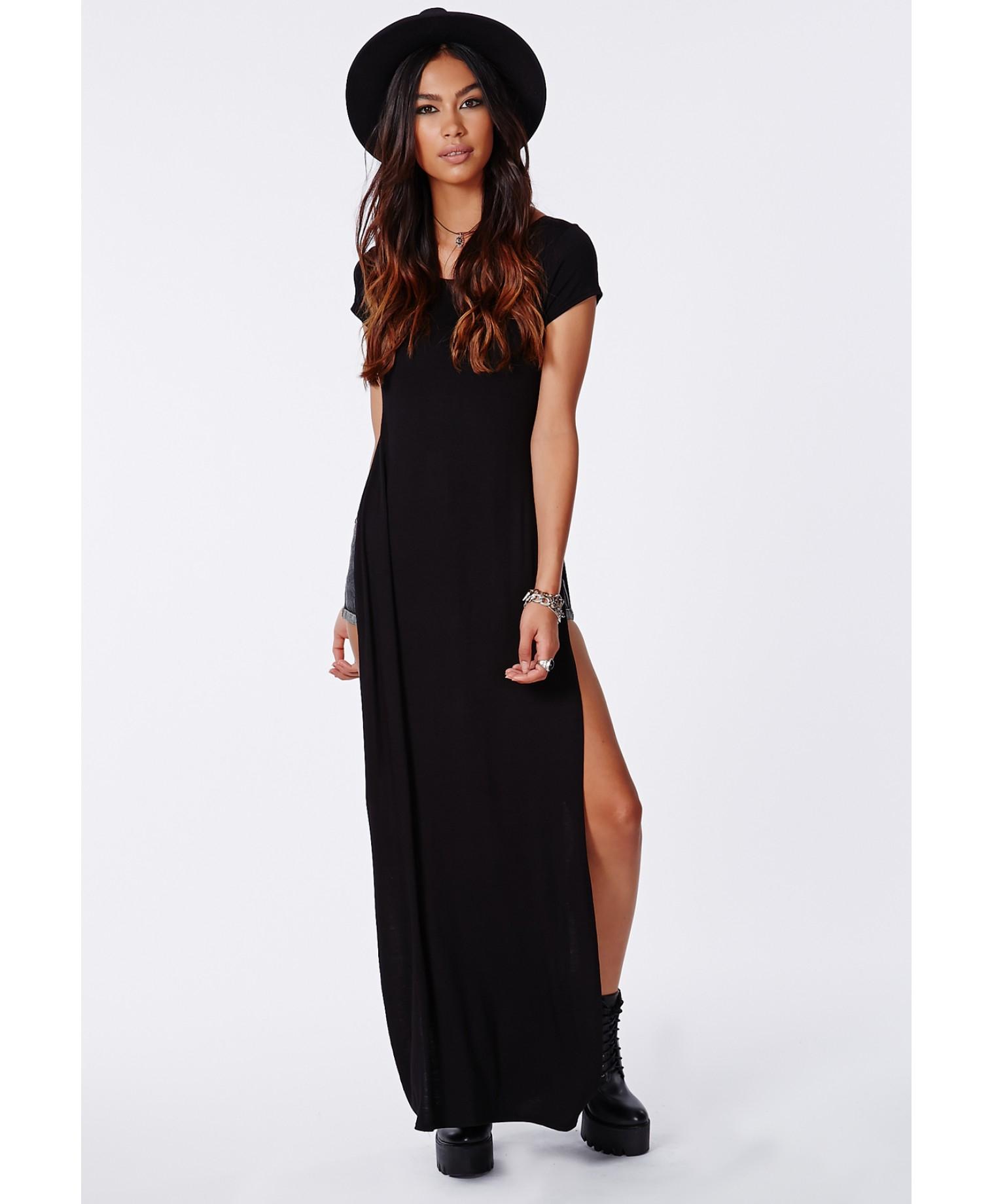 Missguided Krista T Shirt Style Side Split Maxi Dress