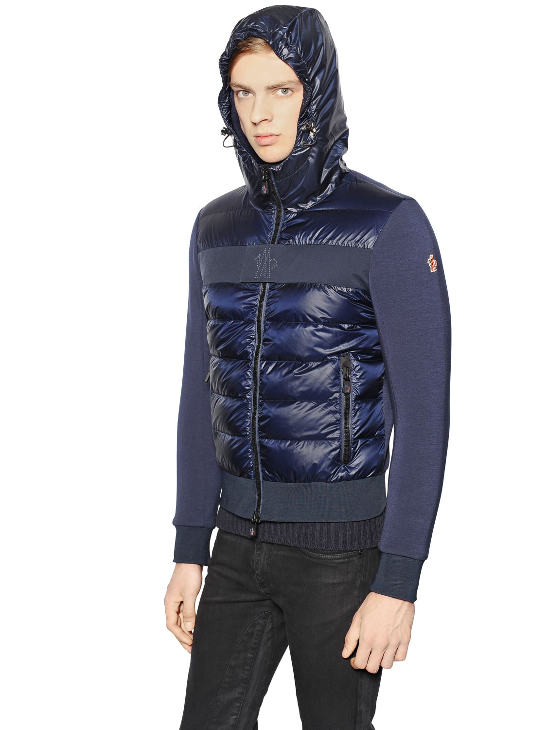 Moncler grenoble Stretch Fleece & Nylon Down Jacket in Blue for ...