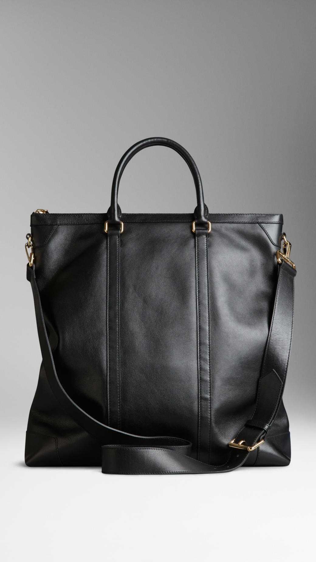 Burberry Large Leather Tote Bag in Black for Men | Lyst