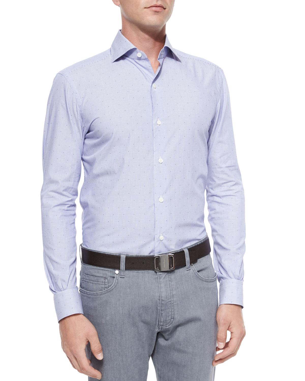 ermenegildo zegna dot dobby stripe sport shirt in blue for men lyst. Black Bedroom Furniture Sets. Home Design Ideas