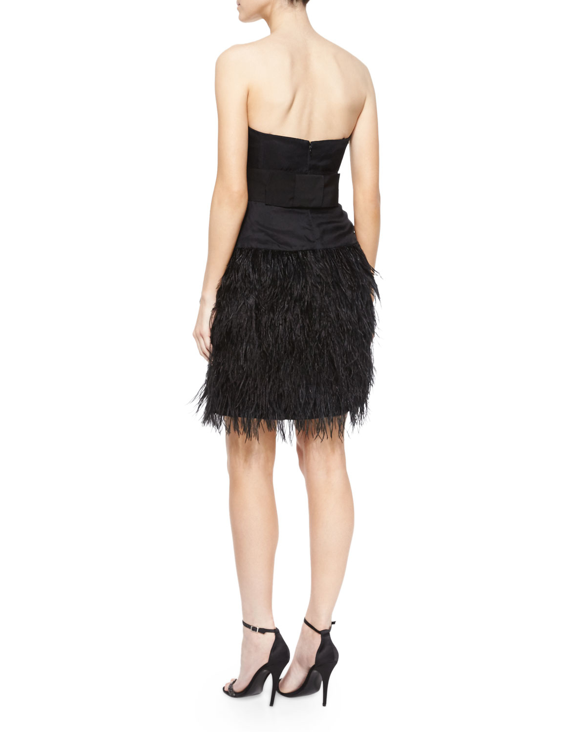 Lyst Milly Strapless Feather Skirt Cocktail Dress In Black