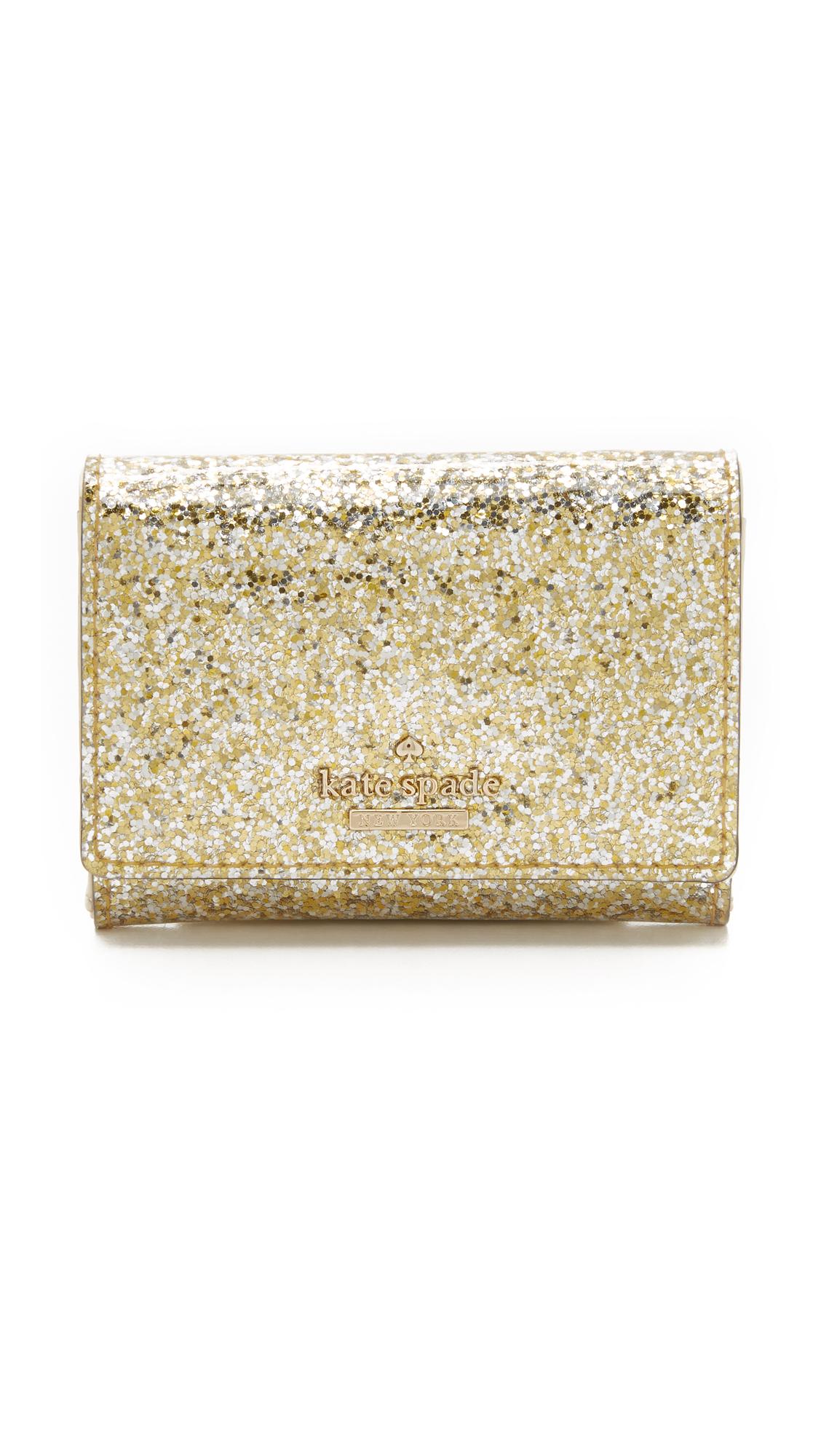 Kate Spade Glitter Bug Darla Wallet In Gold Silver