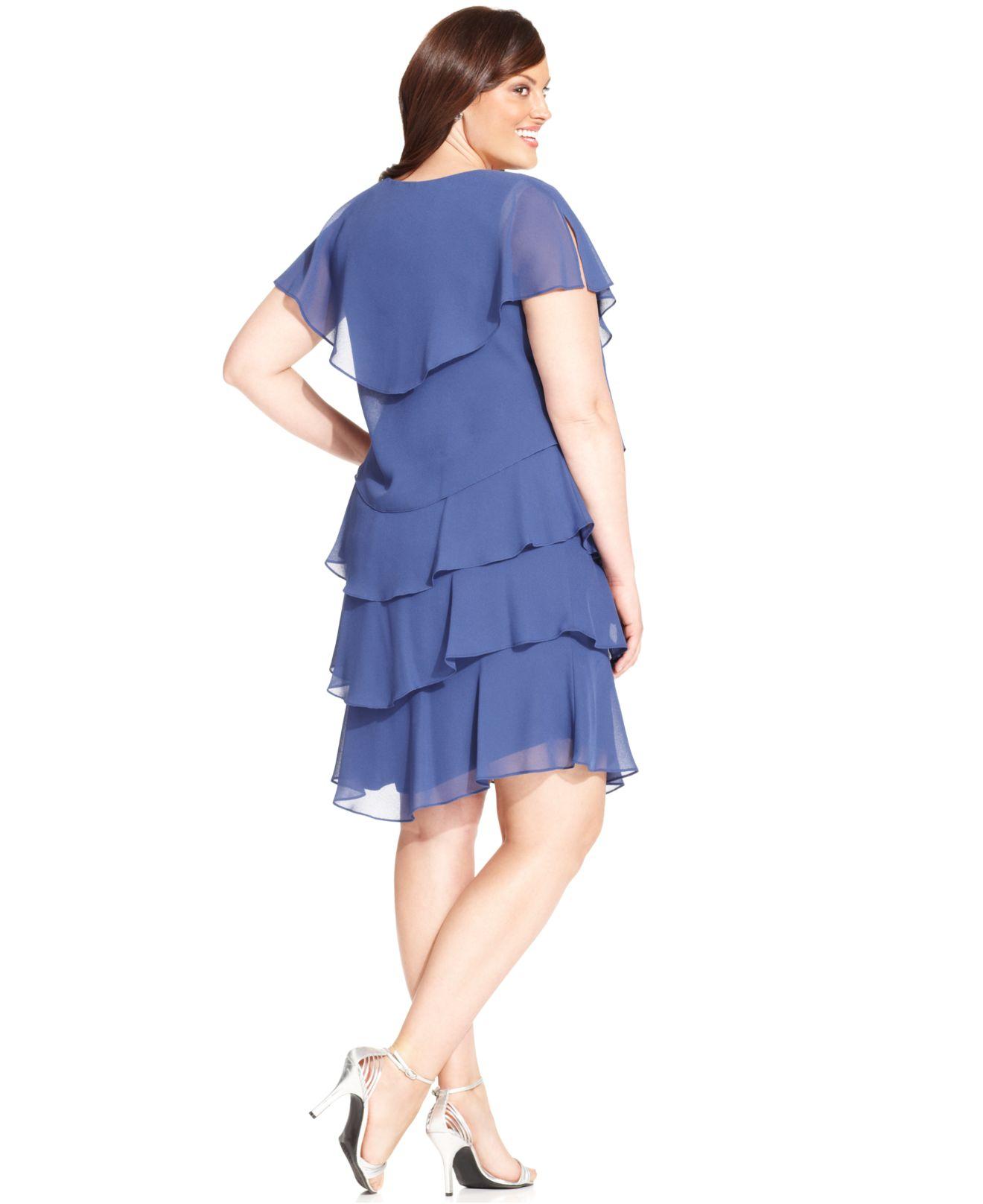 Patra Blue Plus Size Shortsleeve Tiered Dress