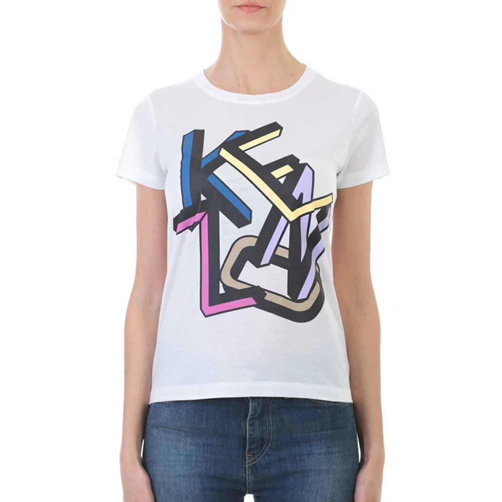 kenzo white printed cotton t shirt in white lyst. Black Bedroom Furniture Sets. Home Design Ideas