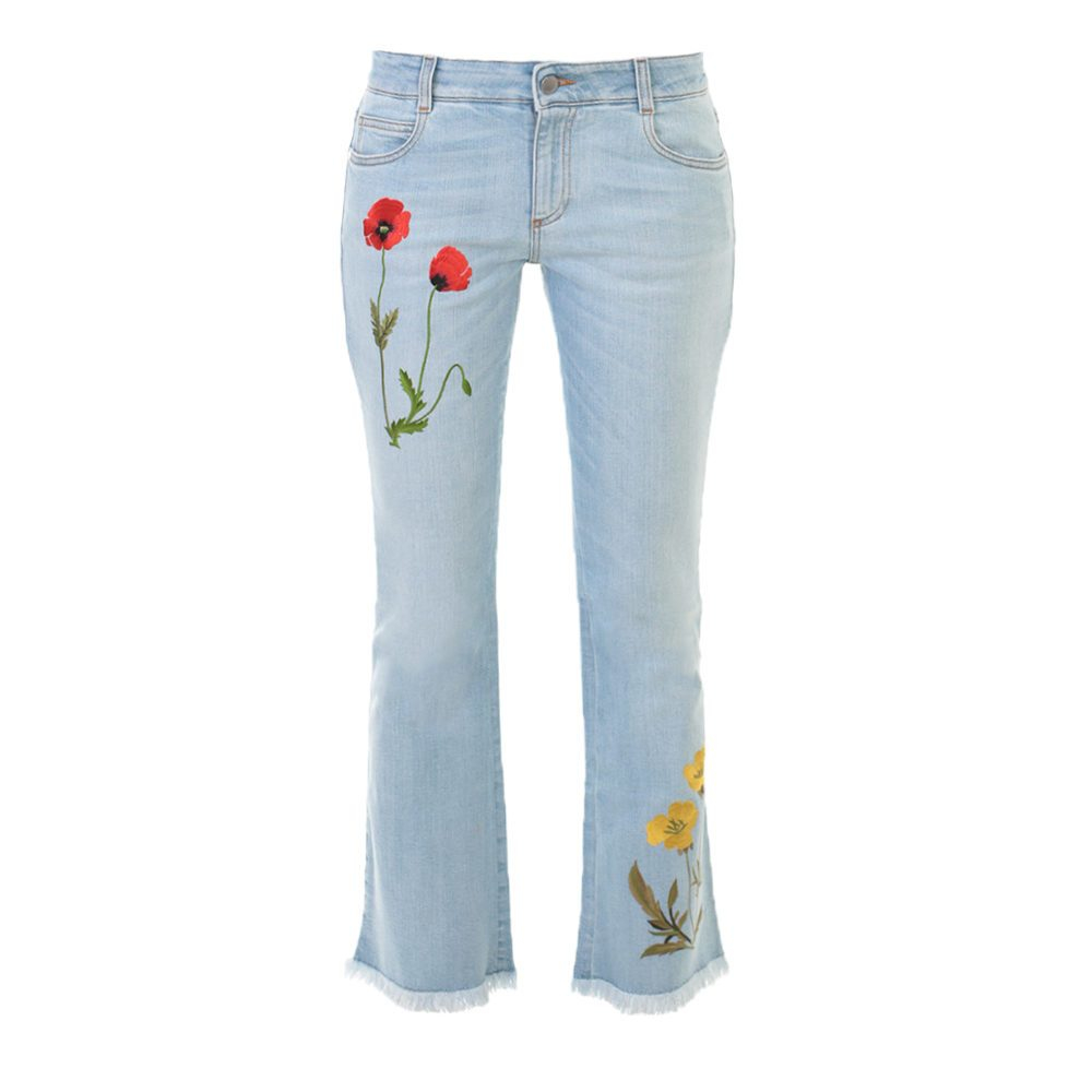 Stella mccartney blue embroidered denim cropped jeans in