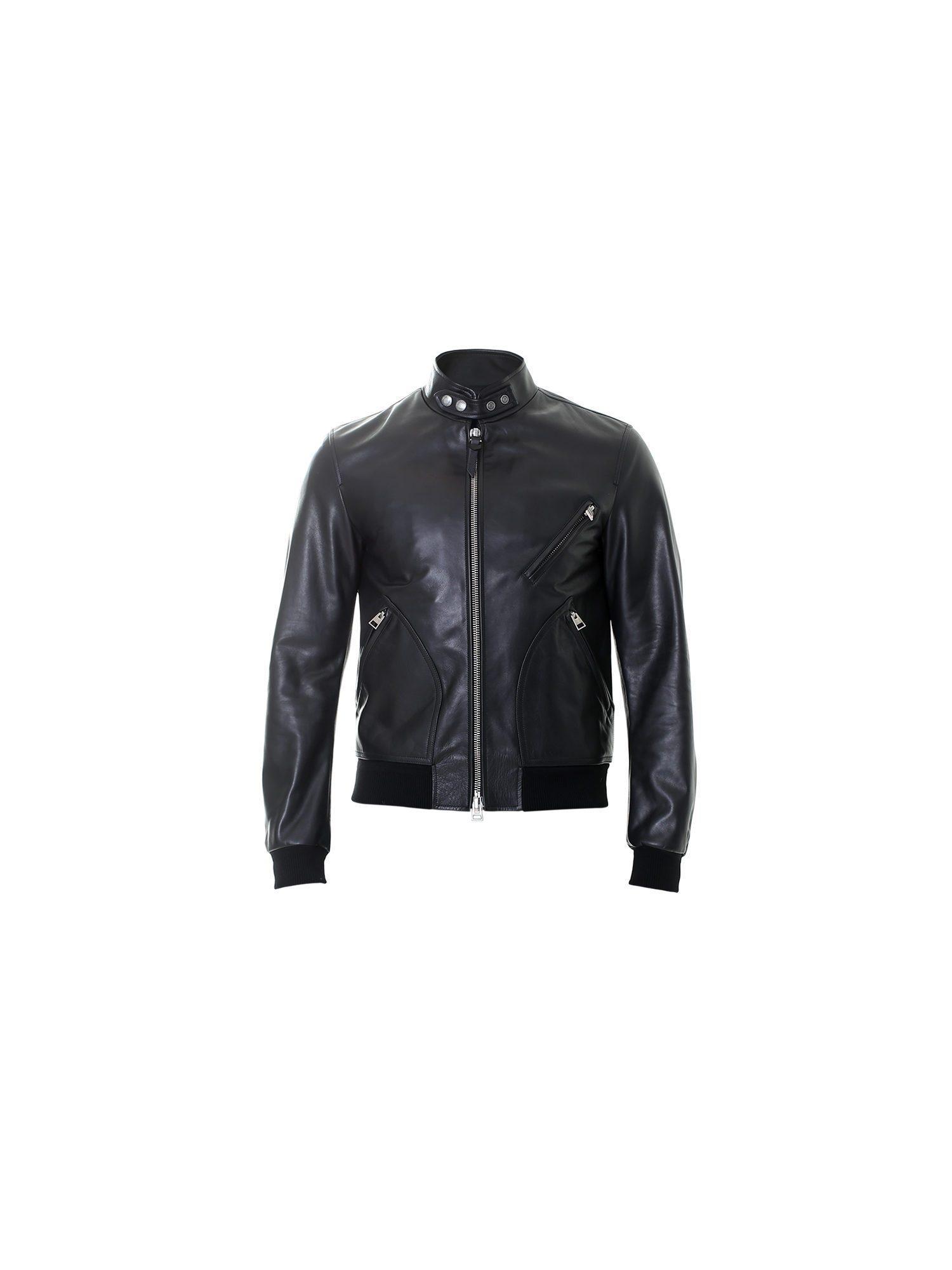 lyst tom ford black leather bomber jacket in black for men. Black Bedroom Furniture Sets. Home Design Ideas