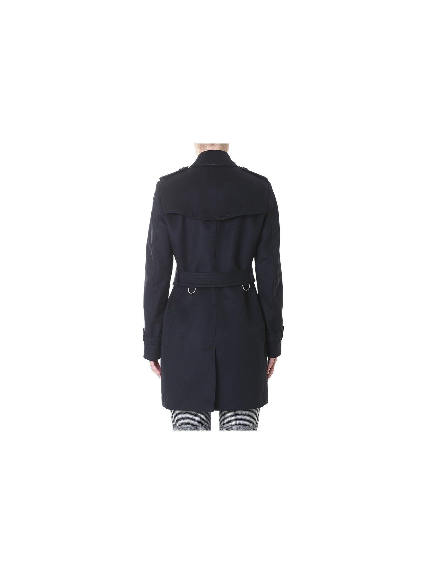 Burberry Black Wool And Cashmere Kensington Coat In Black