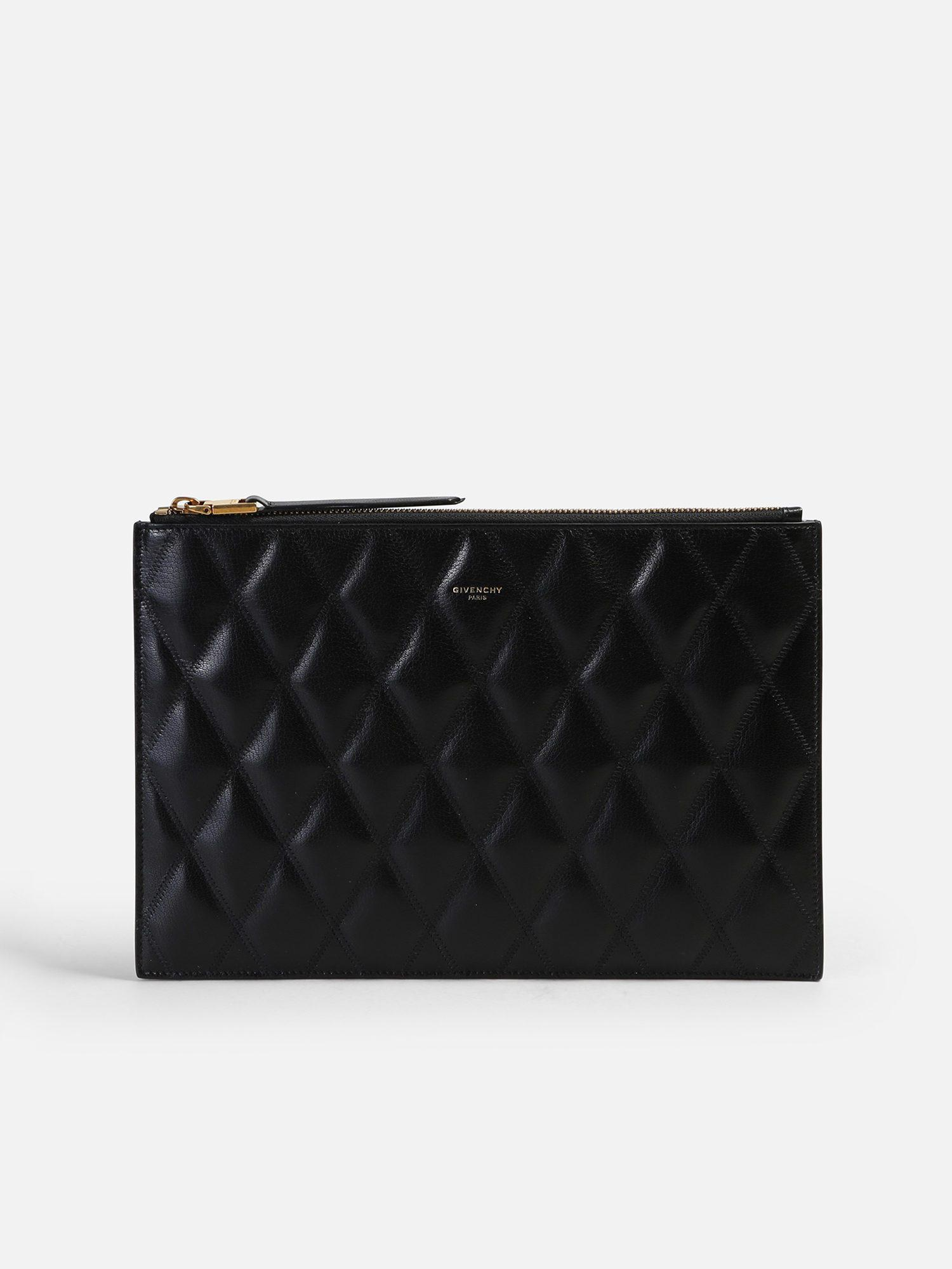 4405b7f96d Lyst - Givenchy Quilted Leather Clutch in Black