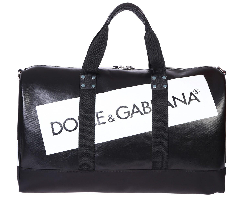 ca41737996 Lyst - Dolce   Gabbana Printed Logo Duffle Bag in Black for Men