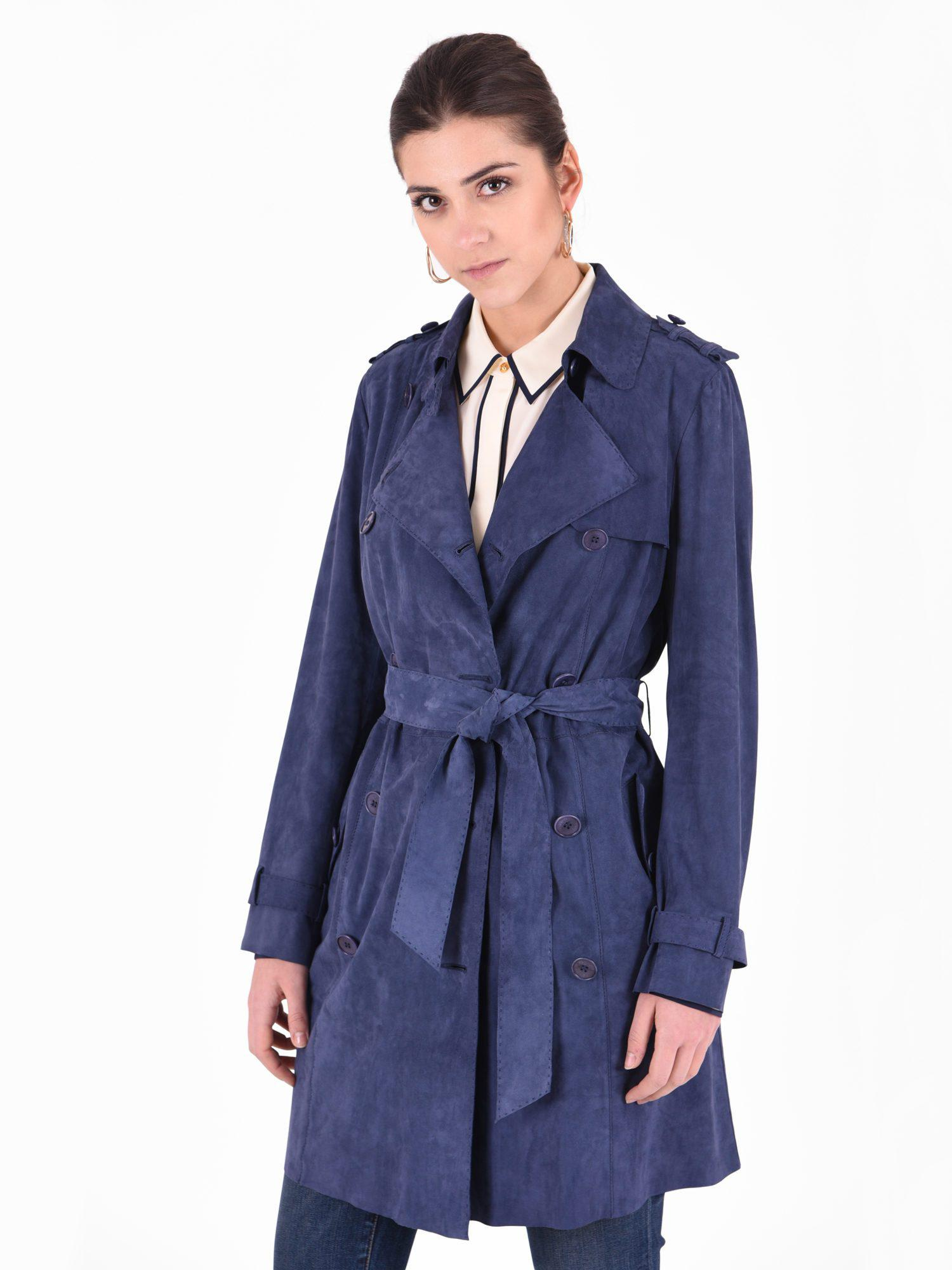 Desa Suede Leather Trench in Blue