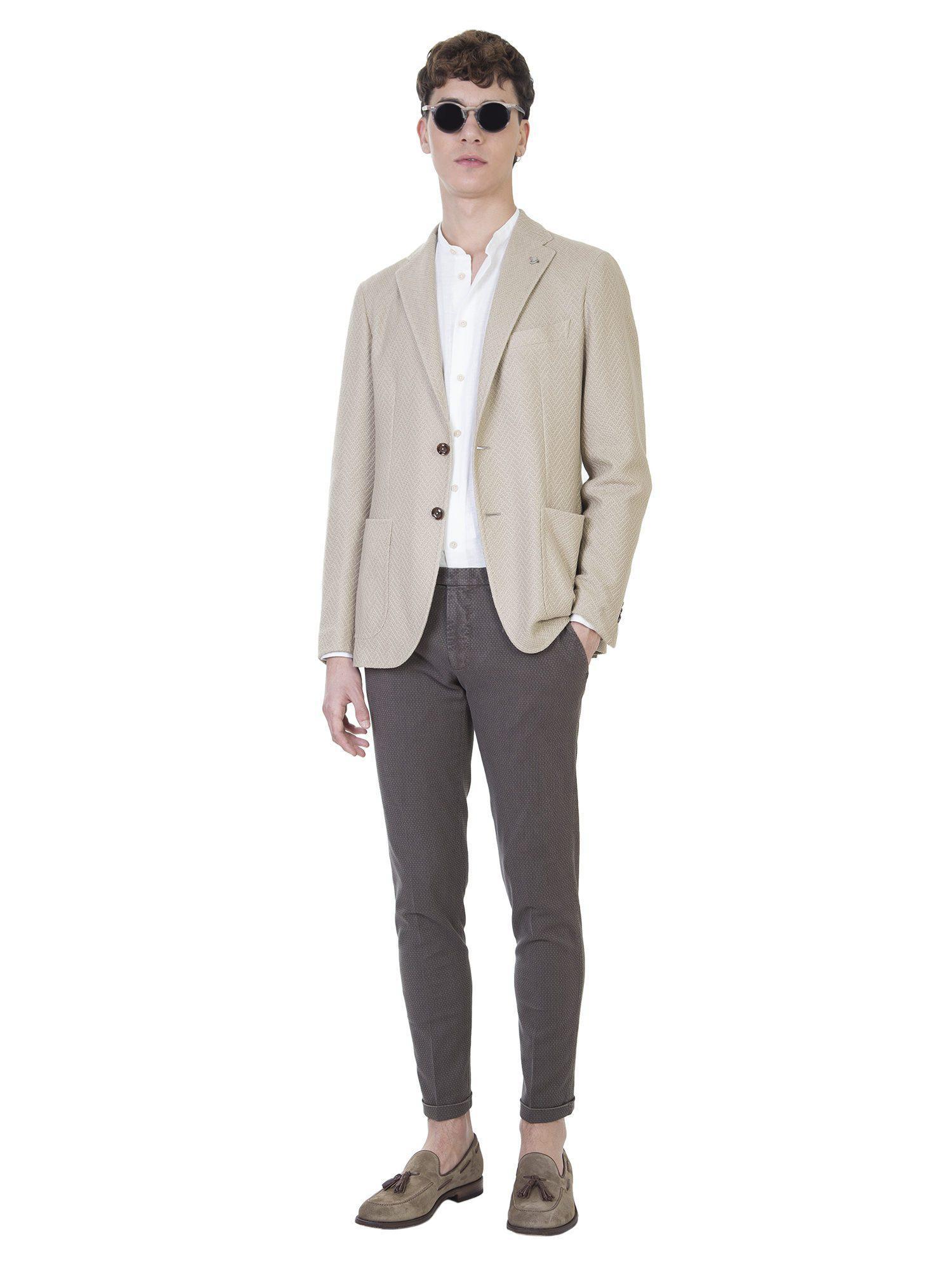 Tagliatore Beige Microtextured Jersey Blazer in Natural for Men