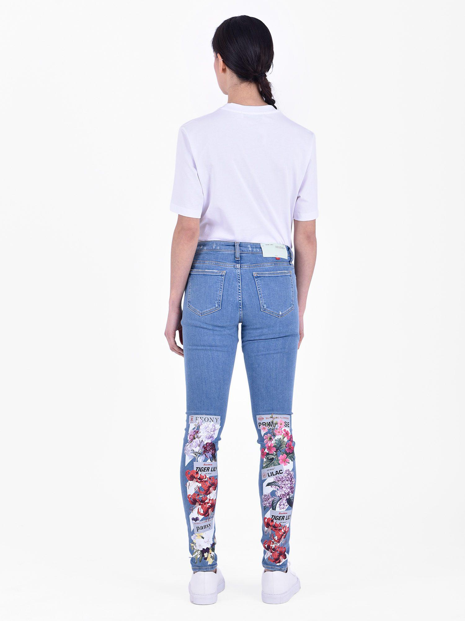 8d0d3fd9c096 Off-White C O Virgil Abloh Printed Stretch Jeans in Blue for Men - Save  39.8936170212766% - Lyst