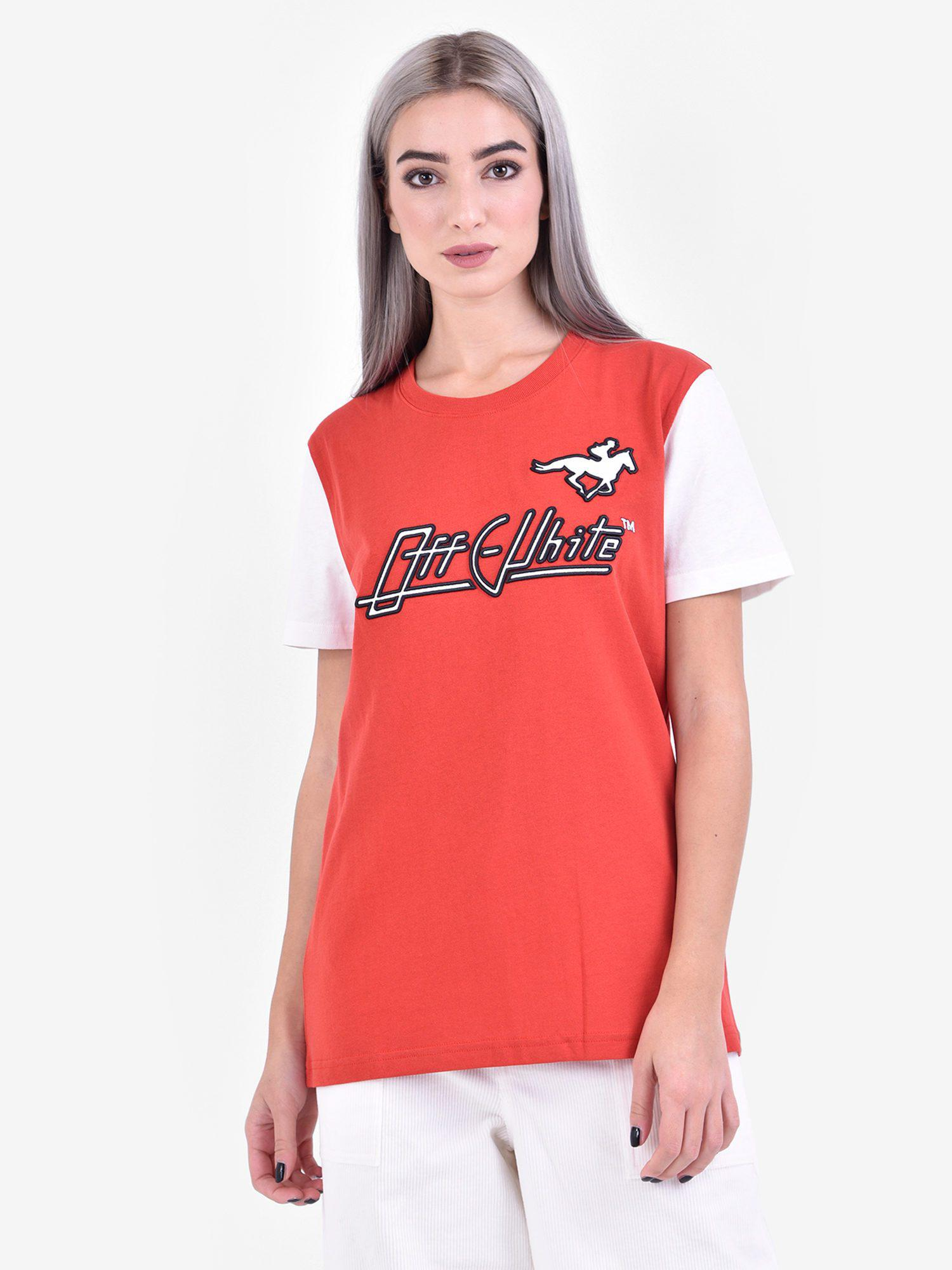 a4b1d91048c4 Off-White C O Virgil Abloh Printed Cotton T-shirt in Red - Lyst