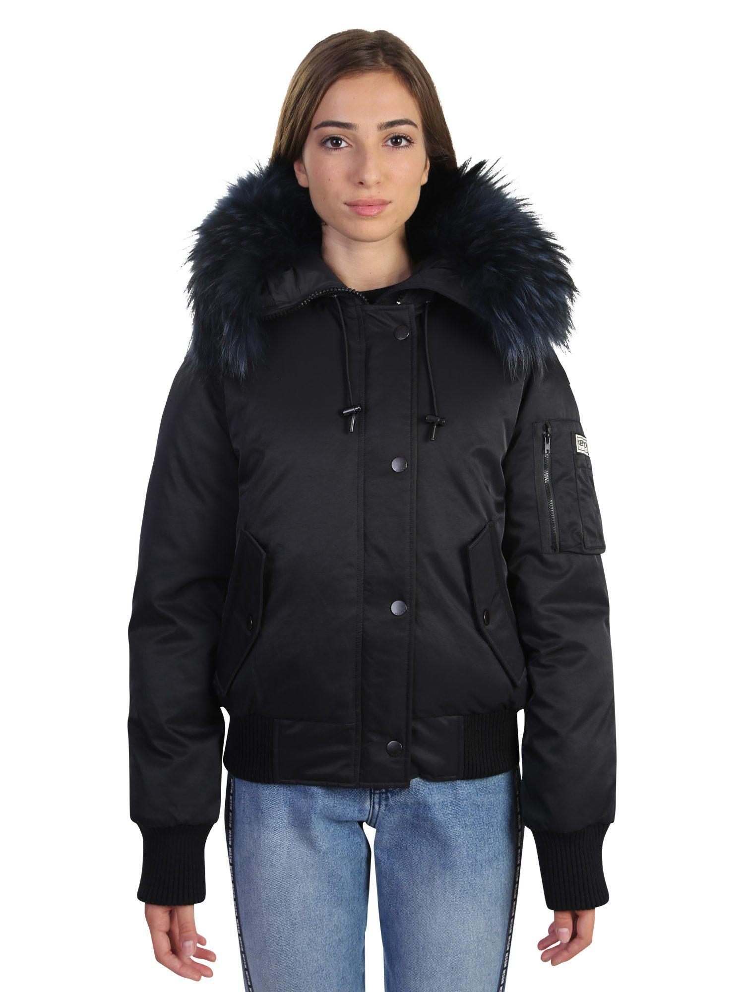 4256e08df4b4 Kenzo Padded Nylon Bomber With Fur in Black - Lyst