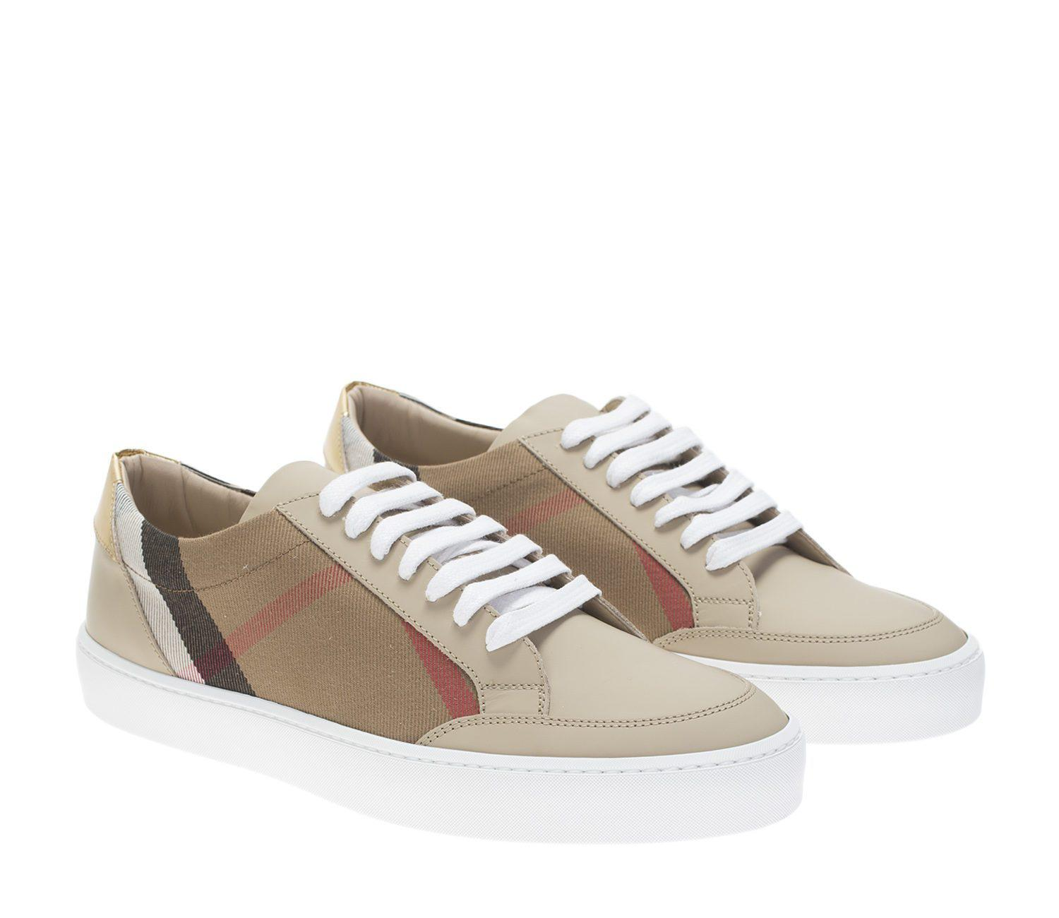 Burberry Beige Canvas And Leather Reynold Sneakers in Natural