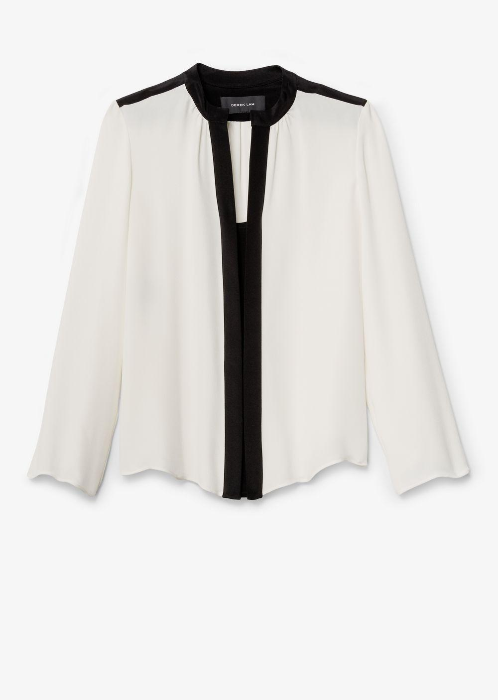 9920f8e55b8da5 Derek Lam - White Long Sleeve Blouse With Nehru Collar - Lyst. View  fullscreen