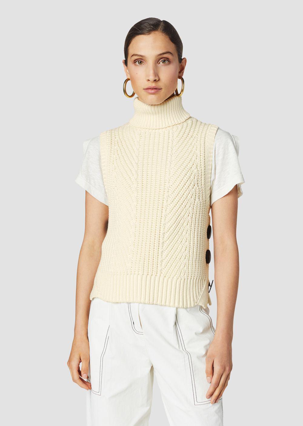 385ba63b82c 10 Crosby Derek Lam. Women s White Ribbed Cotton-blend Sleeveless  Turtleneck Sweater