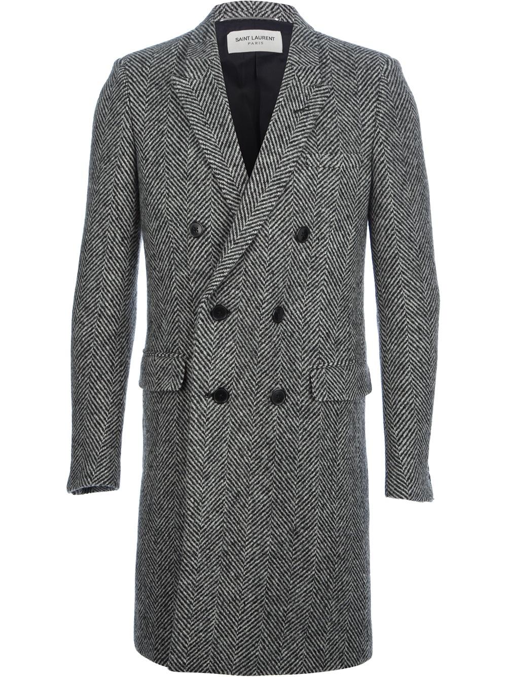 Saint Laurent Double Breasted Herringbone Coat In Grey