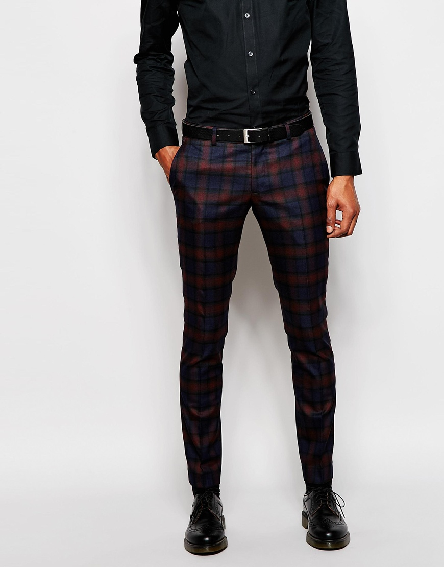 Selected Tonal Plaid Tuxedo Pant In Skinny Fit in Blue for Men | Lyst