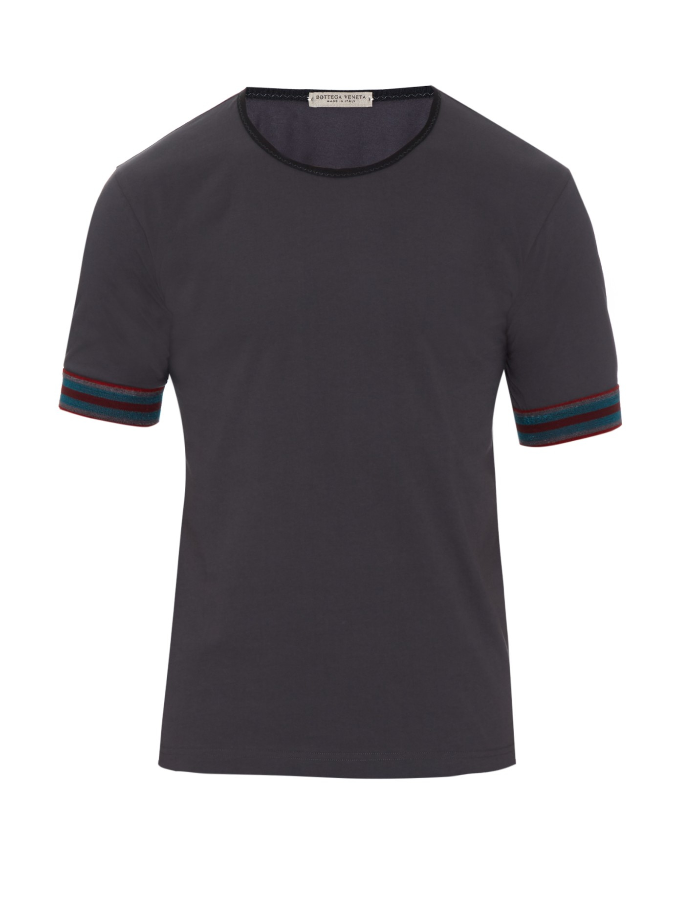 Bottega veneta striped cuff cotton t shirt in gray for men for Bottega veneta t shirt