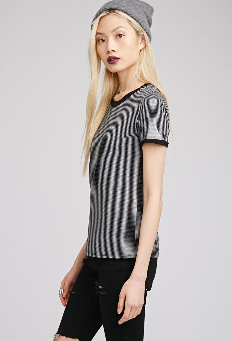 Clothes Ringer 2015 ~ Forever striped ringer tee in black lyst