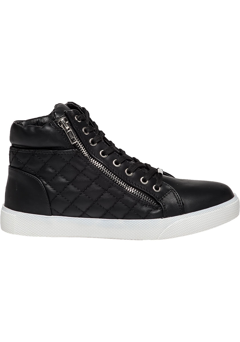 27e5574dbcc Lyst - Steve Madden Decaf Black Quilted Leather Sneaker in Black