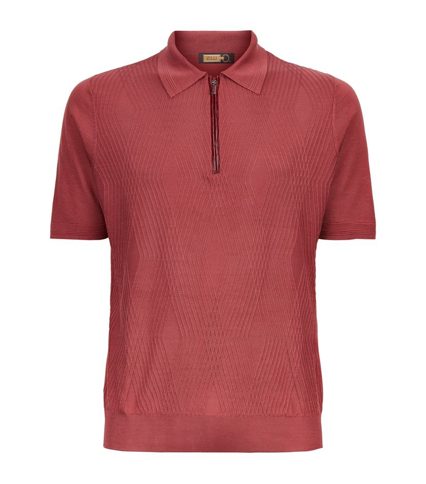 Zilli alligator trim diamond weave polo shirt in red for for Diamond and silk t shirts
