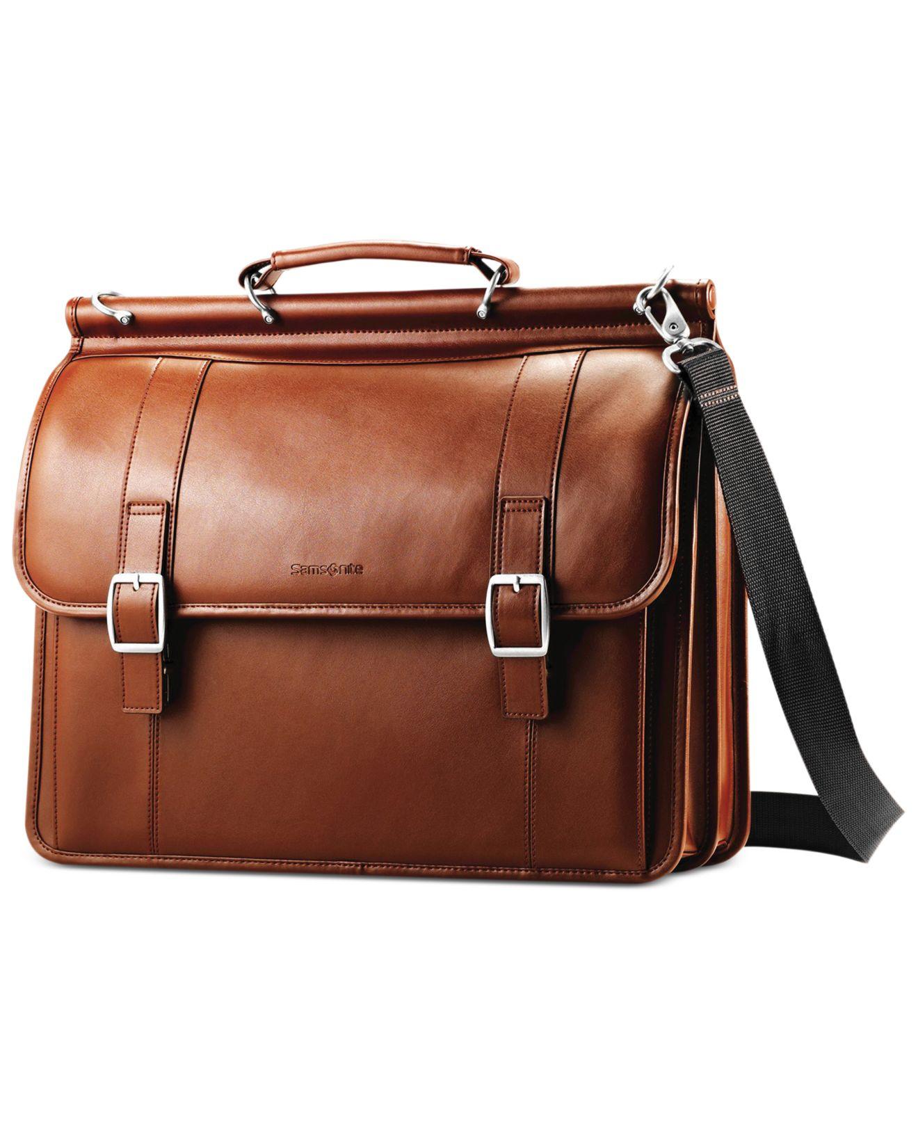 Samsonite Leather Dowel Flapover Laptop Briefcase In Brown