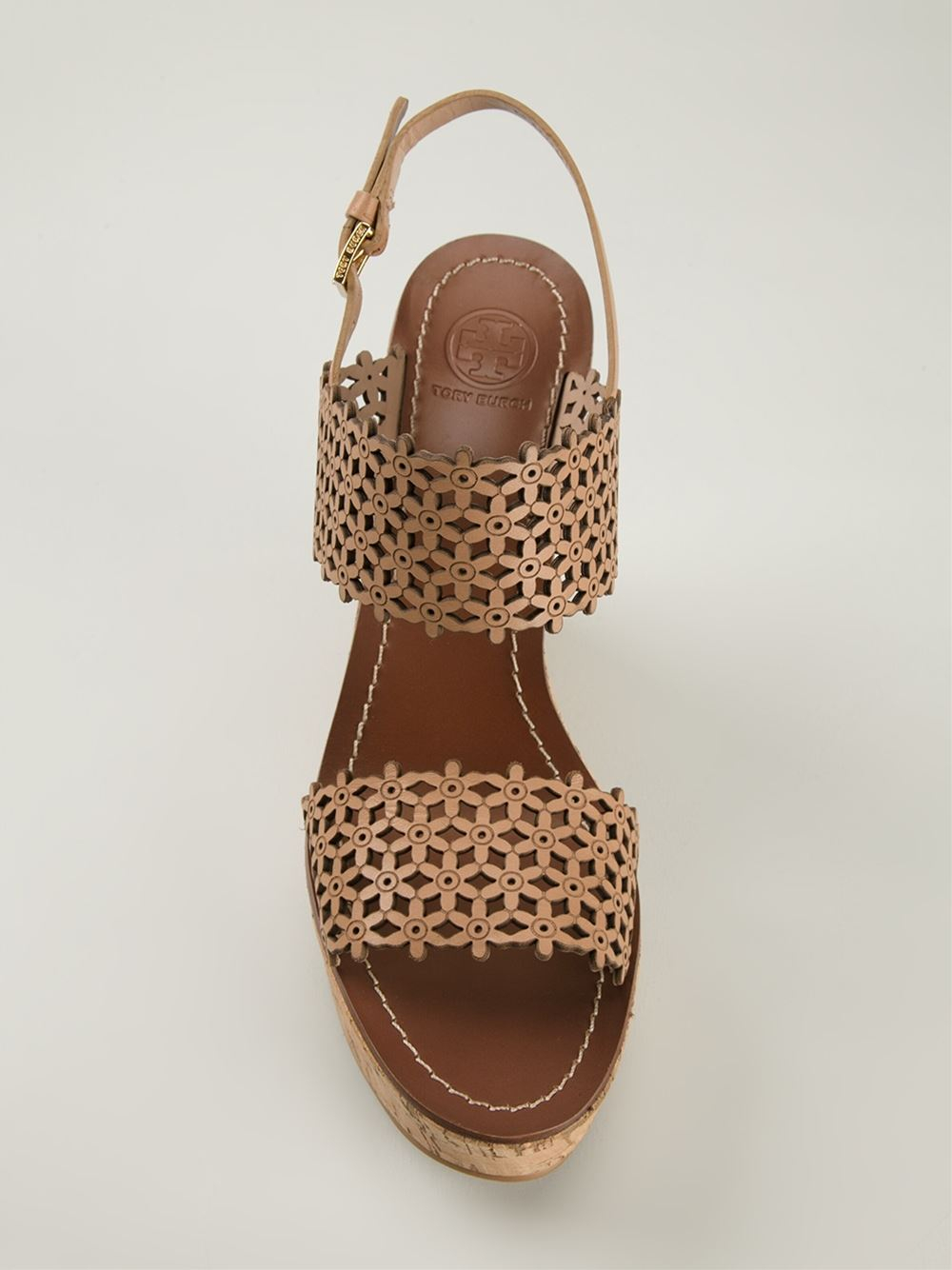 Tory Burch Floral Perforated Wedge Sandals In Brown Lyst