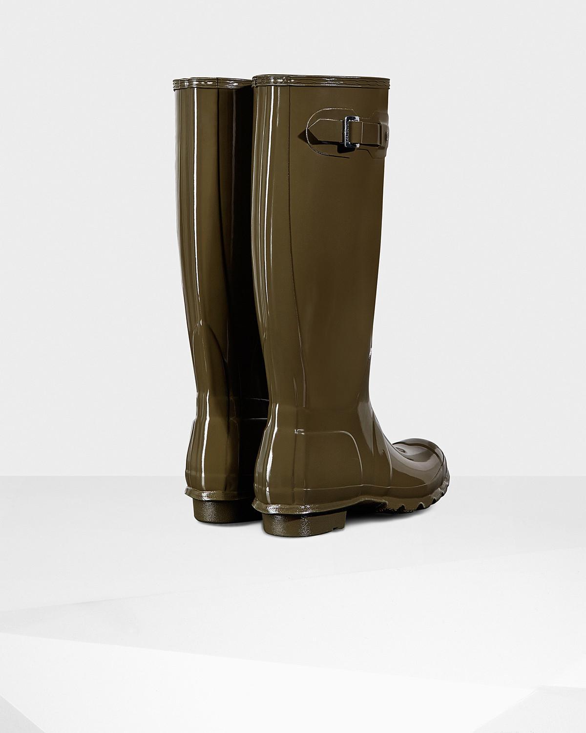 HUNTER Rubber Women's Original Tall Gloss Wellington Boots in Green