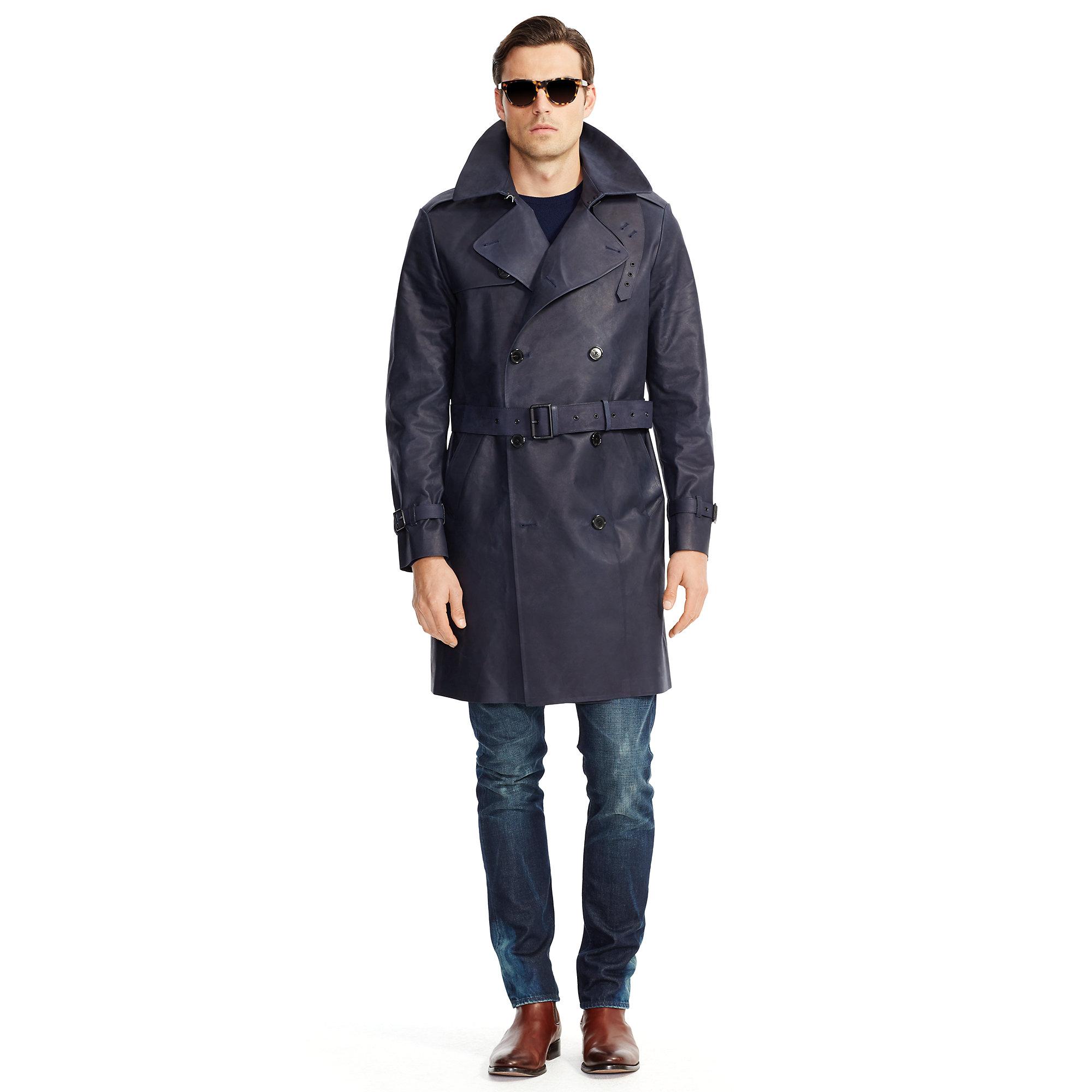 9572e1ad Ralph Lauren Black Label Blue Bonded-Leather Trench Coat for men