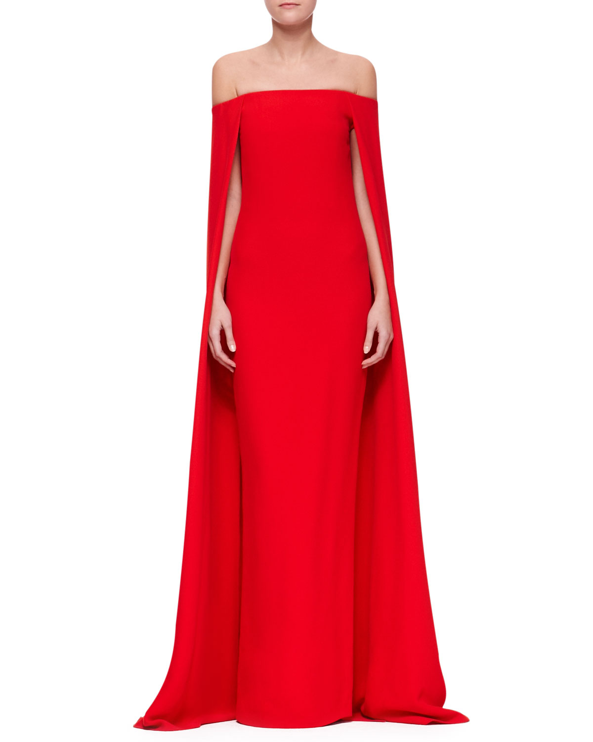 Lyst Ralph Lauren Collection Audrey Cape Evening Gown In Red