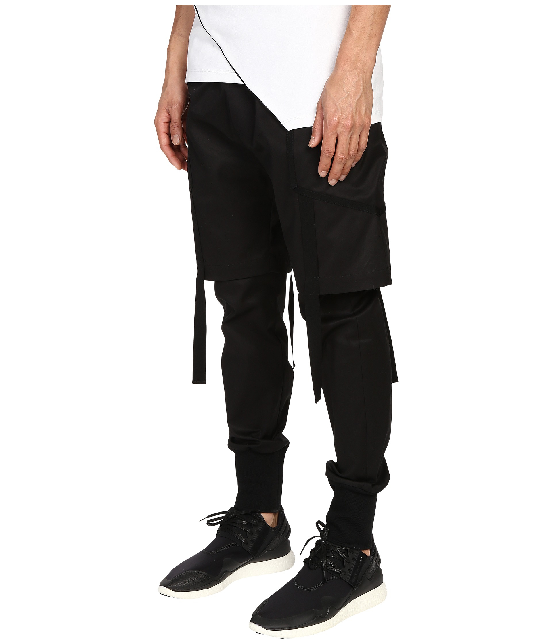 Pyer moss Strapped Double Layer Trousers in Black for Men ...