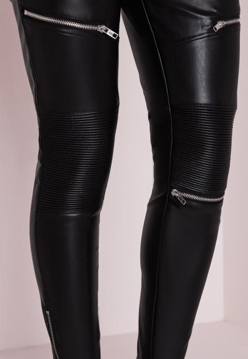eddb5f41181 Missguided Faux Leather Zip Detail Skinny Fit Pants Black in Black ...