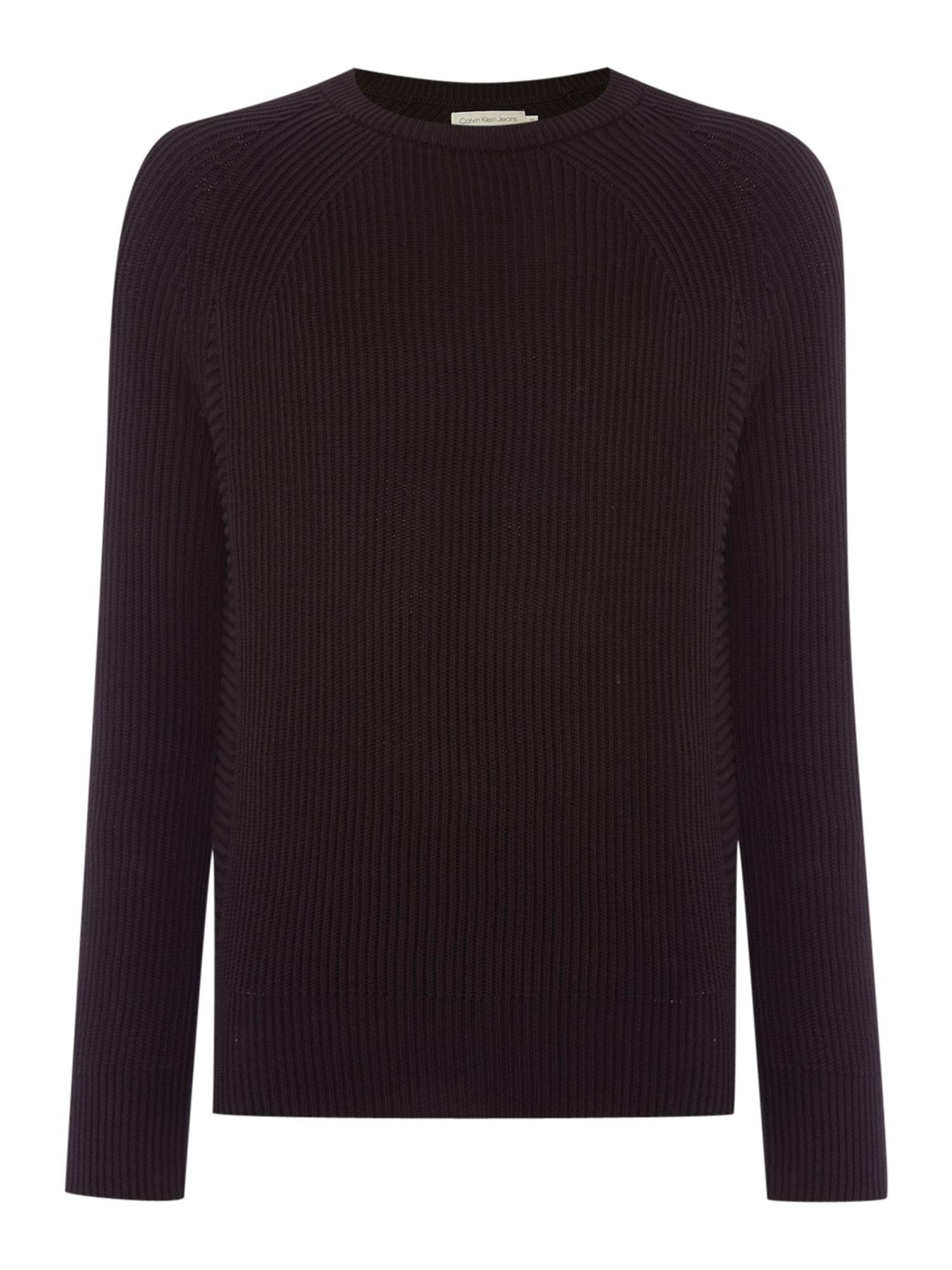 calvin klein carson crew neck long sleeve sweater in black. Black Bedroom Furniture Sets. Home Design Ideas