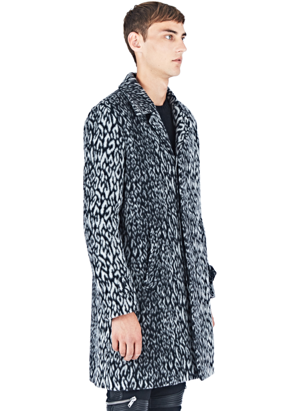 a5f40870adc Saint Laurent Leopard Print Faux Fur Coat in Blue for Men - Lyst