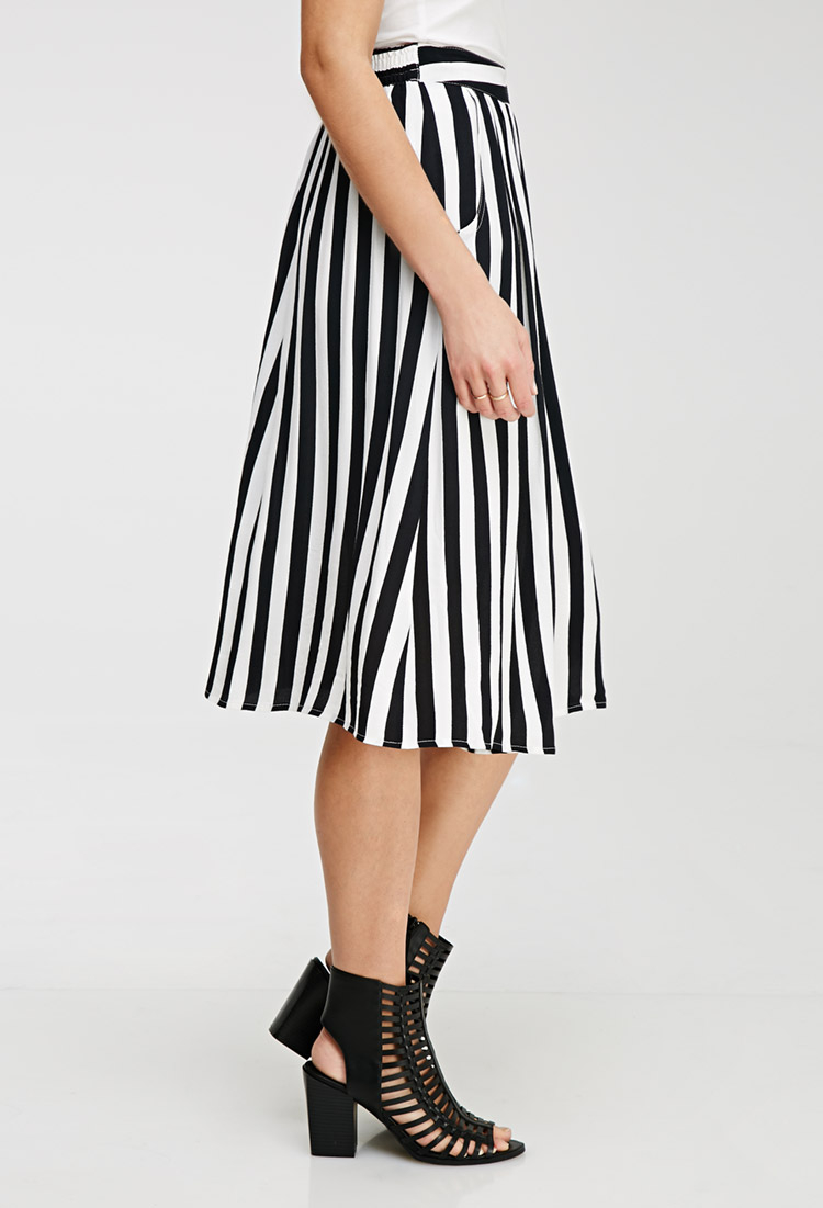 Black And White Striped Midi Skirt | Jill Dress