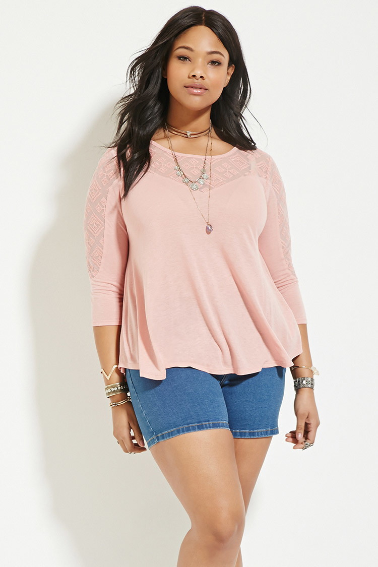 Forever 21 Plus Size Geo-embroidered Top in Pink