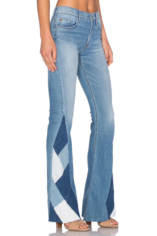 Hudson jeans Laurel Patchwork Flare in Blue | Lyst